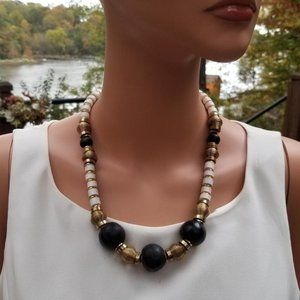 White,Black Wooden Gold Casual Beaded Necklace
